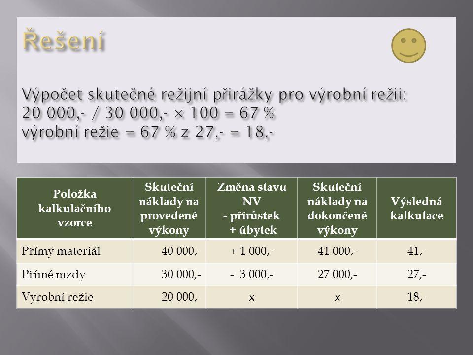 Položka kalkulačního vzorce Skuteční náklady na provedené výkony Změna stavu NV - přírůstek + úbytek Skuteční náklady na dokončené výkony Výsledná kalkulace Přímý materiál40 000,-+ 1 000,-41 000,-41,- Přímé mzdy30 000,-- 3 000,-27 000,-27,- Výrobní režie20 000,-xx18,-