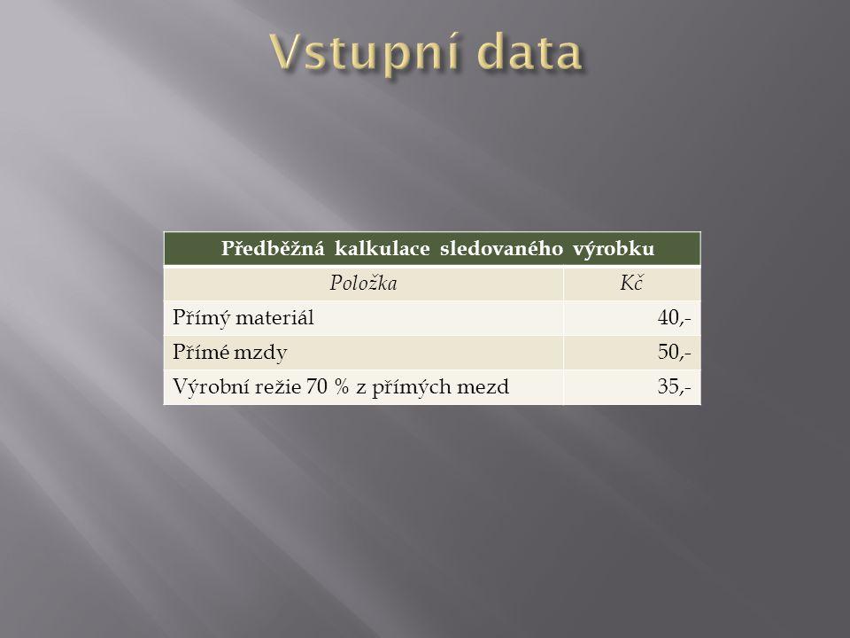 Předběžná kalkulace sledovaného výrobku PoložkaKč Přímý materiál40,- Přímé mzdy50,- Výrobní režie 70 % z přímých mezd35,-