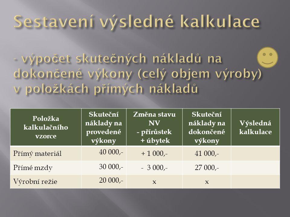 Položka kalkulačního vzorce Skuteční náklady na provedené výkony Změna stavu NV - přírůstek + úbytek Skuteční náklady na dokončené výkony Výsledná kalkulace Přímý materiál 40 000,- + 1 000,-41 000,- Přímé mzdy 30 000,- - 3 000,-27 000,- Výrobní režie 20 000,- xx