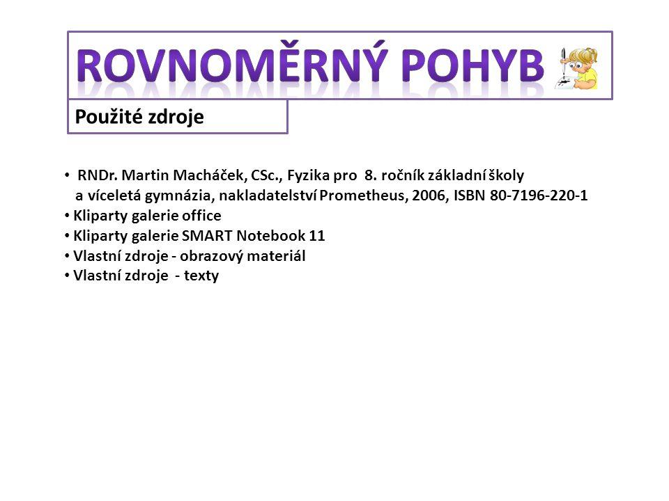 Použité zdroje RNDr. Martin Macháček, CSc., Fyzika pro 8. ročník základní školy a víceletá gymnázia, nakladatelství Prometheus, 2006, ISBN 80-7196-220