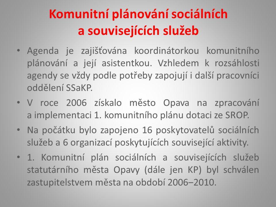 Komunitní plánování sociálních a souvisejících služeb Agenda je zajišťována koordinátorkou komunitního plánování a její asistentkou.
