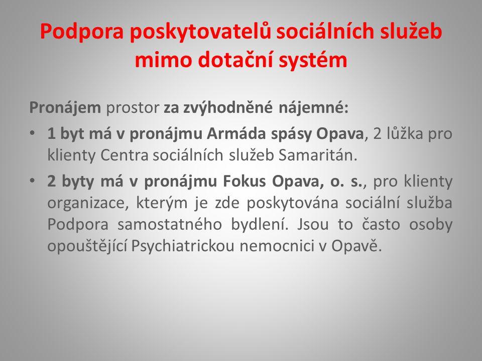 Podpora poskytovatelů sociálních služeb mimo dotační systém Pronájem prostor za zvýhodněné nájemné: 1 byt má v pronájmu Armáda spásy Opava, 2 lůžka pro klienty Centra sociálních služeb Samaritán.