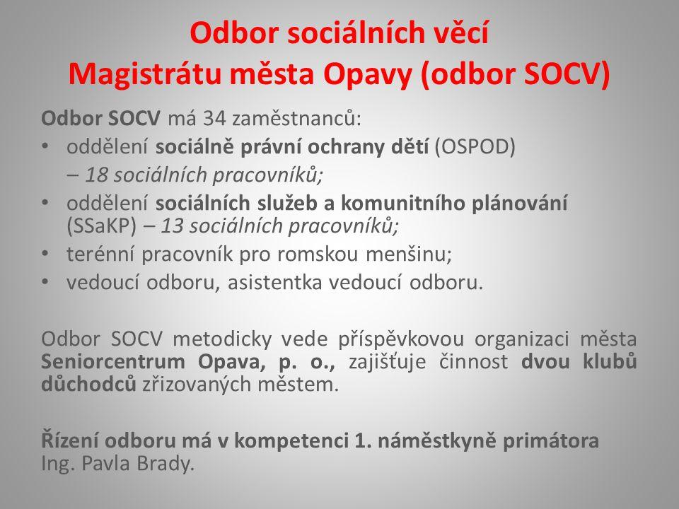 Odbor sociálních věcí Magistrátu města Opavy (odbor SOCV) Odbor SOCV má 34 zaměstnanců: oddělení sociálně právní ochrany dětí (OSPOD) – 18 sociálních pracovníků; oddělení sociálních služeb a komunitního plánování (SSaKP) – 13 sociálních pracovníků; terénní pracovník pro romskou menšinu; vedoucí odboru, asistentka vedoucí odboru.