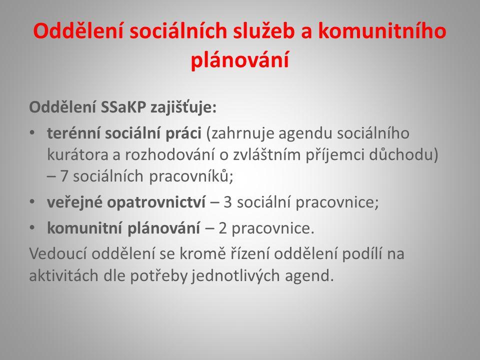 Oddělení sociálních služeb a komunitního plánování Oddělení SSaKP zajišťuje: terénní sociální práci (zahrnuje agendu sociálního kurátora a rozhodování o zvláštním příjemci důchodu) – 7 sociálních pracovníků; veřejné opatrovnictví – 3 sociální pracovnice; komunitní plánování – 2 pracovnice.