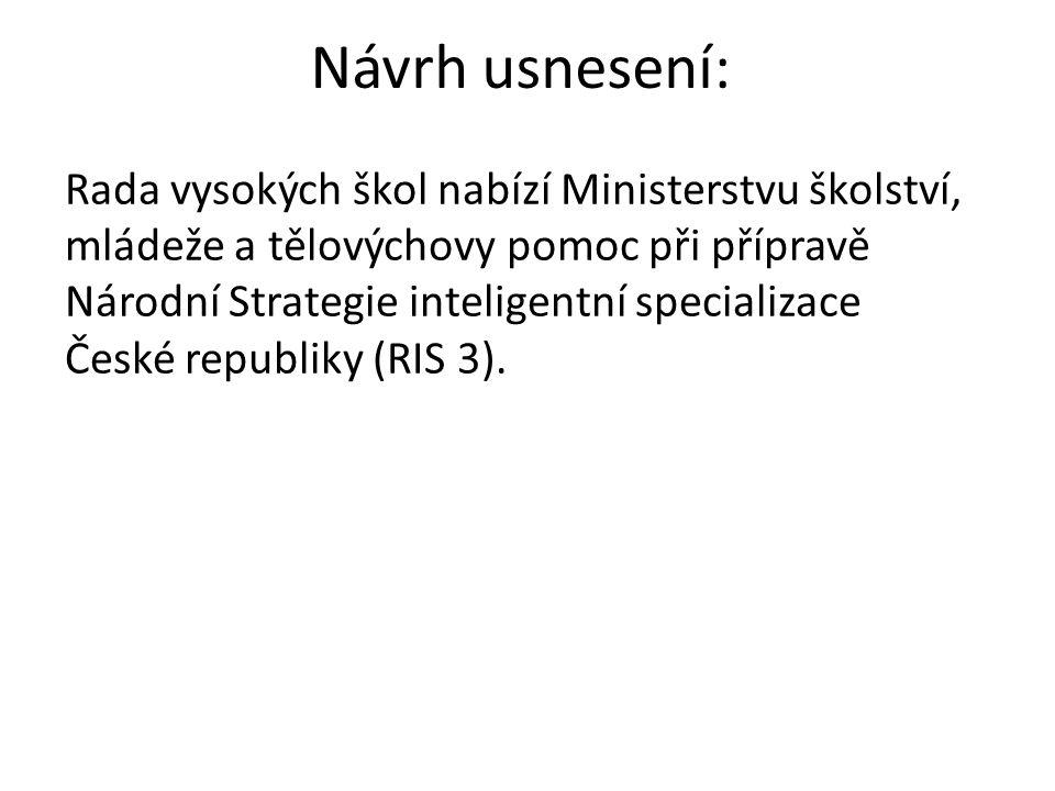 Návrh usnesení: Rada vysokých škol nabízí Ministerstvu školství, mládeže a tělovýchovy pomoc při přípravě Národní Strategie inteligentní specializace České republiky (RIS 3).