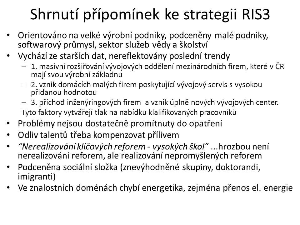 Shrnutí přípomínek ke strategii RIS3 Orientováno na velké výrobní podniky, podceněny malé podniky, softwarový průmysl, sektor služeb vědy a školství V