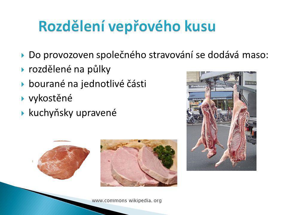  Do provozoven společného stravování se dodává maso:  rozdělené na půlky  bourané na jednotlivé části  vykostěné  kuchyňsky upravené www.commons wikipedia.