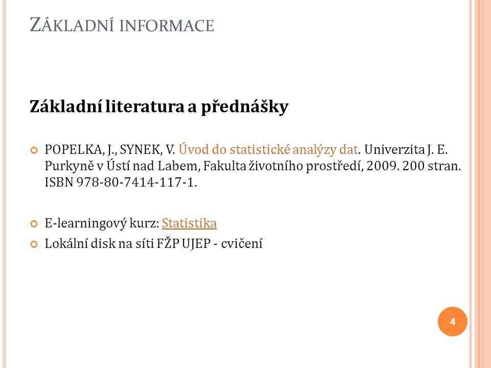 Z ÁKLADNÍ INFORMACE Základní literatura a přednášky POPELKA, J., SYNEK, V. Úvod do statistické analýzy dat. Univerzita J. E. Purkyně v Ústí nad Labem,