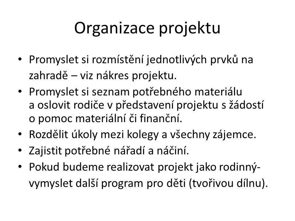 Organizace projektu Promyslet si rozmístění jednotlivých prvků na zahradě – viz nákres projektu.