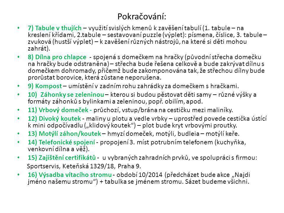 Pokračování: 7) Tabule v thujích – využití svislých kmenů k zavěšení tabulí (1.