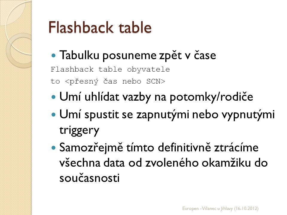 Flashback table Tabulku posuneme zpět v čase Flashback table obyvatele to Umí uhlídat vazby na potomky/rodiče Umí spustit se zapnutými nebo vypnutými