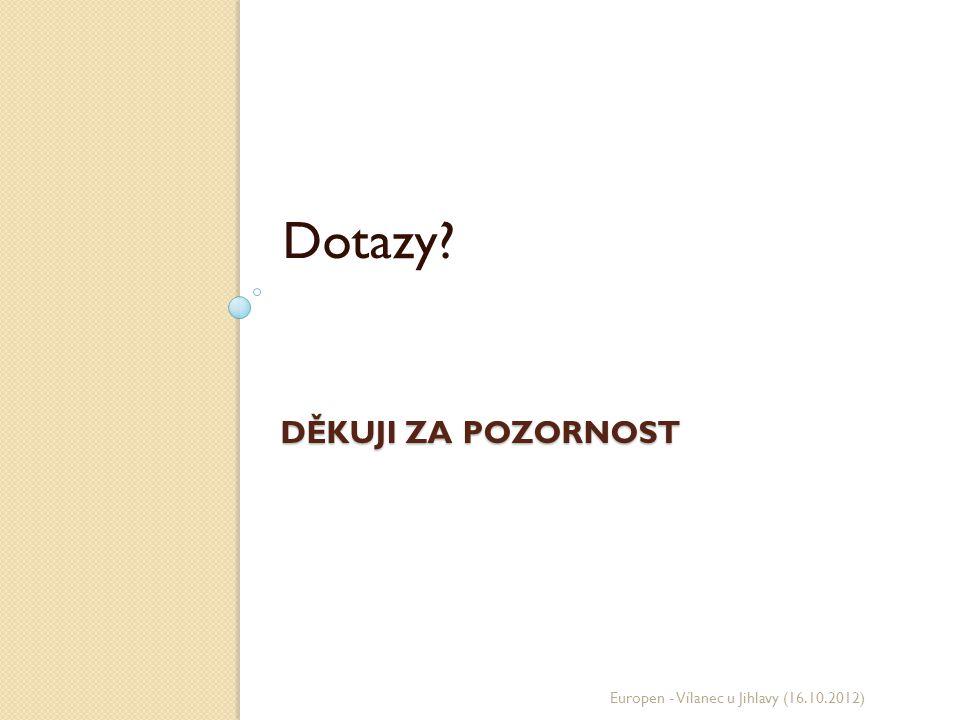 DĚKUJI ZA POZORNOST Dotazy? Europen - Vílanec u Jihlavy (16.10.2012)