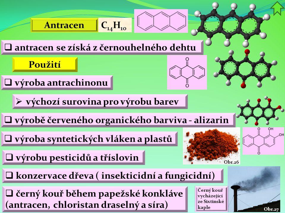 Obr.27 Obr.26 Antracen  výroba antrachinonu C 14 H 10  výchozí surovina pro výrobu barev  výrobě červeného organického barviva - alizarin  výroba