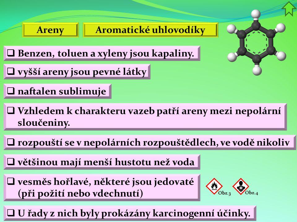 Areny  Benzen, toluen a xyleny jsou kapaliny.  vesměs hořlavé, některé jsou jedovaté (při požití nebo vdechnutí)  vyšší areny jsou pevné látky Arom