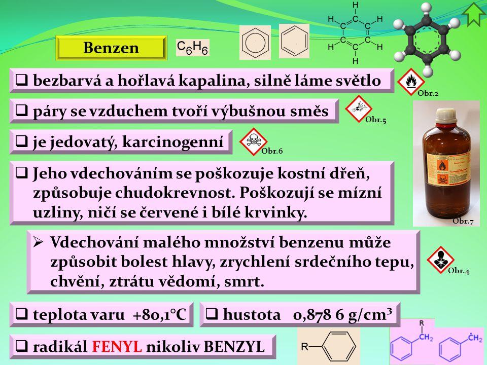 Obr.9 Obr.10 Obr.11 Obr.8 Benzen  rozpouštědlo organických látek  přidával se do benzínu (zvyšuje jeho oktanové číslo)  výroba léčiv  výroba kosmetických a dezinfekčních přípravků  výroba kompaktních disků  výroba syntetické pryže Použití  výroba barviv  výroba výbušnin  výroba styrenu (polystyrenu), fenolu a cyklohexanu (nylonu)