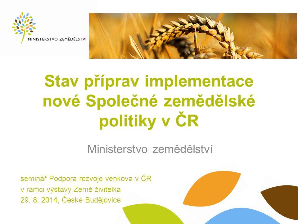 Obsah prezentace  Nová Společná zemědělská politika od roku 2014  Podpory v rámci I.