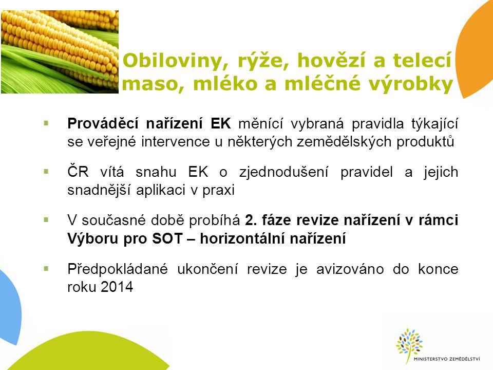 Obiloviny, rýže, hovězí a telecí maso, mléko a mléčné výrobky  Prováděcí nařízení EK měnící vybraná pravidla týkající se veřejné intervence u některých zemědělských produktů  ČR vítá snahu EK o zjednodušení pravidel a jejich snadnější aplikaci v praxi  V současné době probíhá 2.