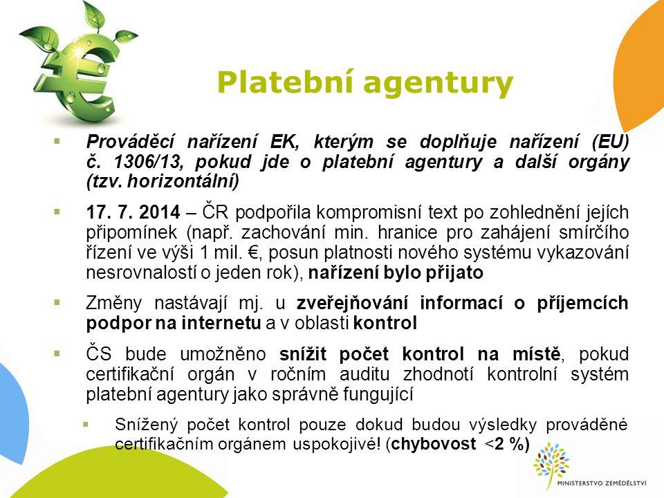 Platební agentury  Prováděcí nařízení EK, kterým se doplňuje nařízení (EU) č.