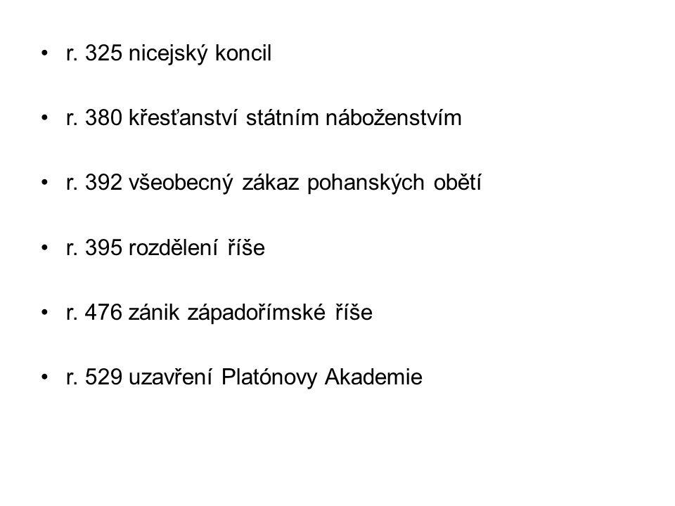 r.325 nicejský koncil r. 380 křesťanství státním náboženstvím r.