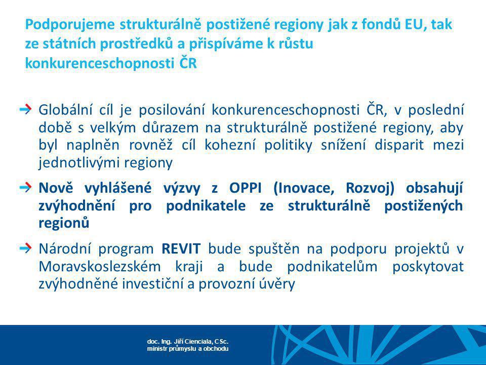 doc. Ing. Jiří Cienciala, CSc. ministr průmyslu a obchodu Podporujeme strukturálně postižené regiony jak z fondů EU, tak ze státních prostředků a přis