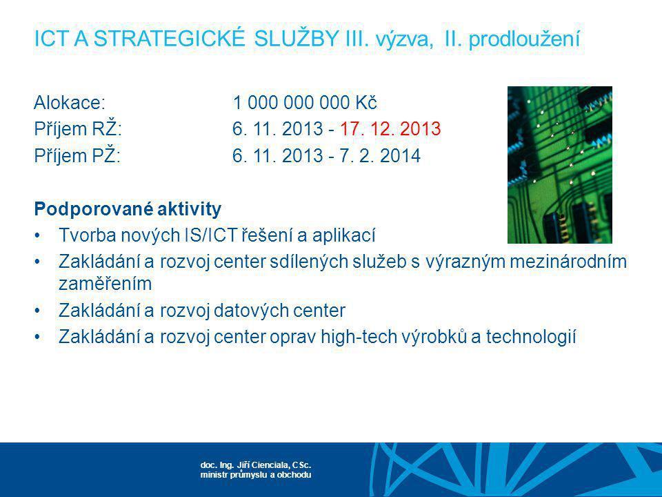 doc. Ing. Jiří Cienciala, CSc. ministr průmyslu a obchodu Alokace:1 000 000 000 Kč Příjem RŽ:6. 11. 2013 - 17. 12. 2013 Příjem PŽ:6. 11. 2013 - 7. 2.