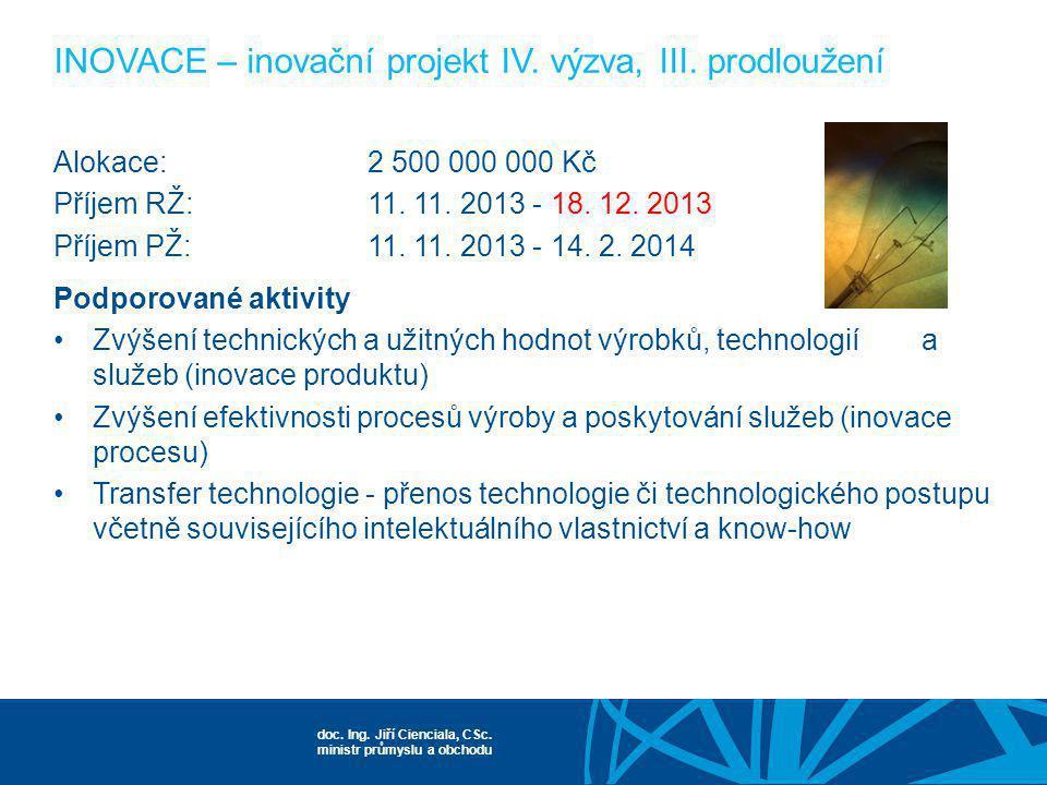 doc. Ing. Jiří Cienciala, CSc. ministr průmyslu a obchodu Alokace:2 500 000 000 Kč Příjem RŽ:11. 11. 2013 - 18. 12. 2013 Příjem PŽ:11. 11. 2013 - 14.