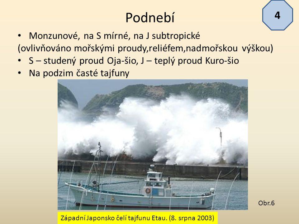 Monzunové, na S mírné, na J subtropické (ovlivňováno mořskými proudy,reliéfem,nadmořskou výškou) S – studený proud Oja-šio, J – teplý proud Kuro-šio N