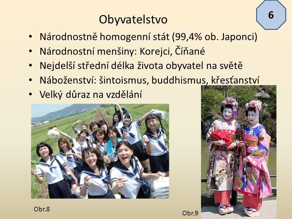 Národnostně homogenní stát (99,4% ob. Japonci) Národnostní menšiny: Korejci, Číňané Nejdelší střední délka života obyvatel na světě Náboženství: šinto