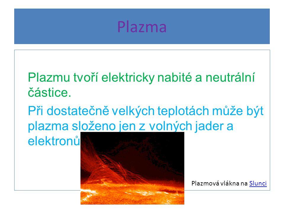 Plazma Plazmu tvoří elektricky nabité a neutrální částice.