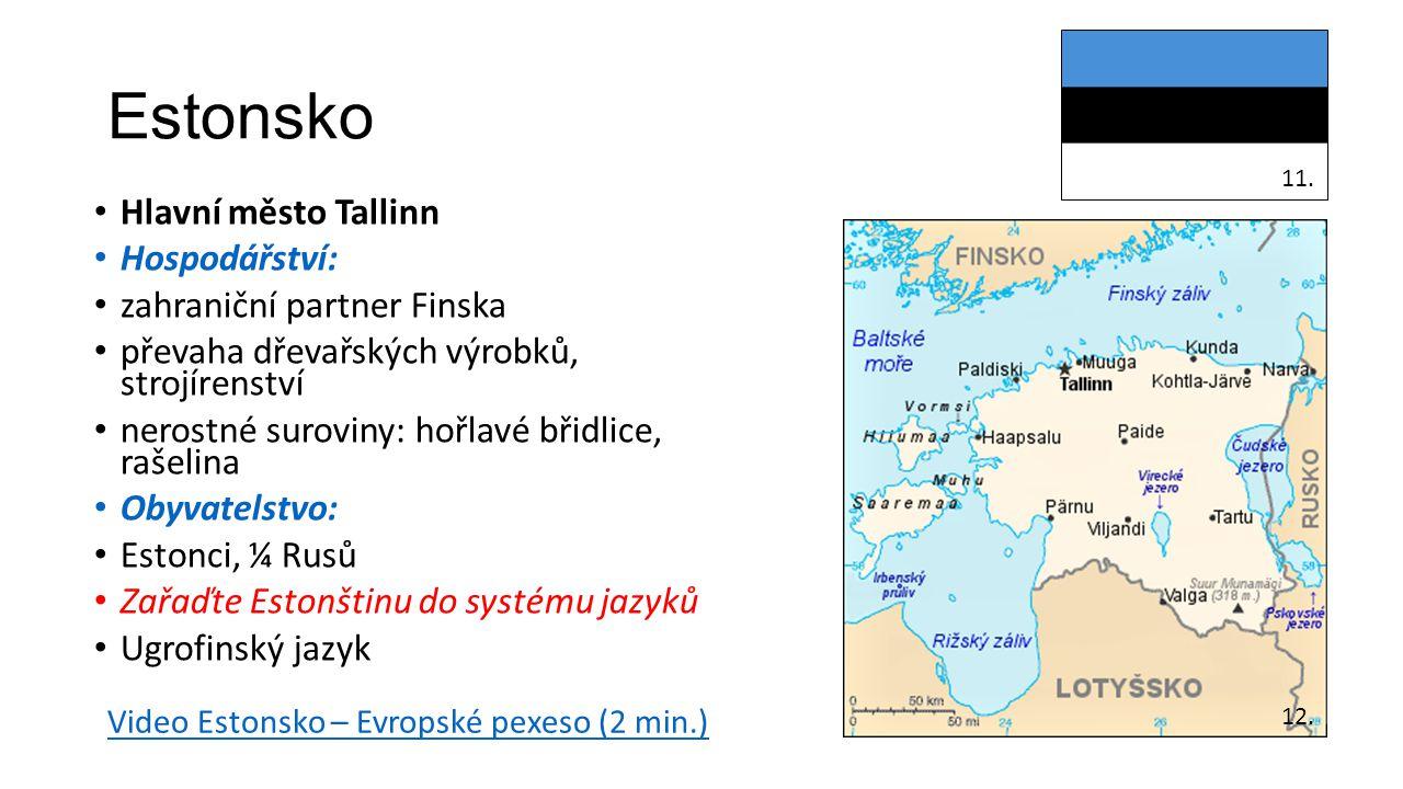 Estonsko Hlavní město Tallinn Hospodářství: zahraniční partner Finska převaha dřevařských výrobků, strojírenství nerostné suroviny: hořlavé břidlice,