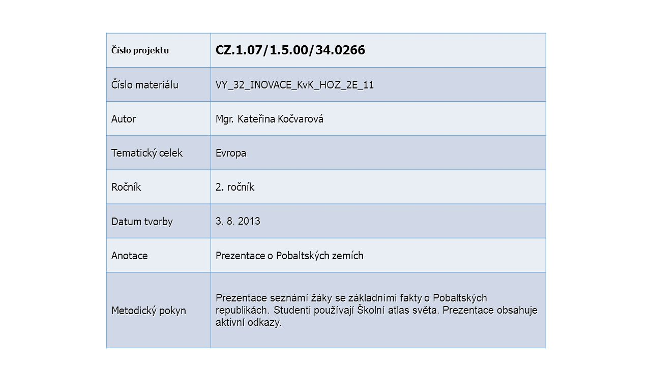 Číslo projektu CZ.1.07/1.5.00/34.0266 Číslo materiálu VY_32_INOVACE_KvK_ HOZ _2E_11 Autor Mgr. Kateřina Kočvarová Tematický celek Evropa Ročník 2. r o