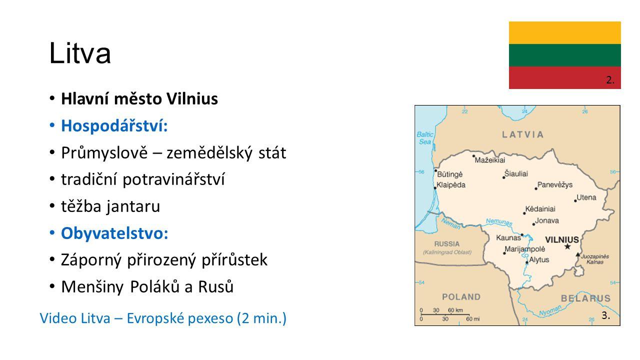 Litva Hlavní město Vilnius Hospodářství: Průmyslově – zemědělský stát tradiční potravinářství těžba jantaru Obyvatelstvo: Záporný přirozený přírůstek