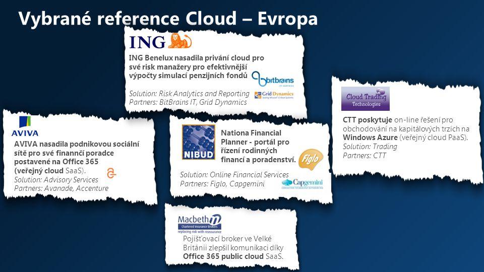 Vybrané reference Cloud – Evropa AVIVA nasadila podnikovou sociální sítě pro své finannčí poradce postavené na Office 365 (veřejný cloud SaaS). Soluti