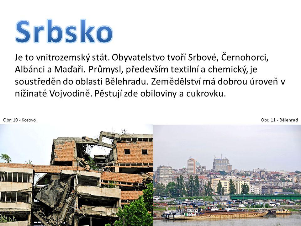 Je to vnitrozemský stát. Obyvatelstvo tvoří Srbové, Černohorci, Albánci a Maďaři. Průmysl, především textilní a chemický, je soustředěn do oblasti Běl