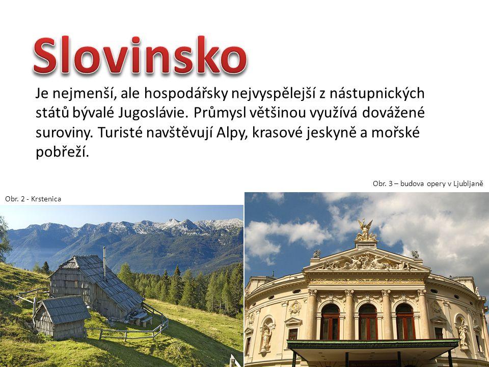 Je nejmenší, ale hospodářsky nejvyspělejší z nástupnických států bývalé Jugoslávie. Průmysl většinou využívá dovážené suroviny. Turisté navštěvují Alp