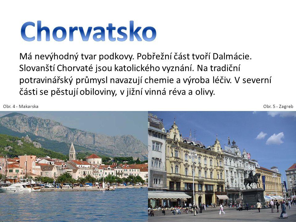 Má nevýhodný tvar podkovy. Pobřežní část tvoří Dalmácie. Slovanští Chorvaté jsou katolického vyznání. Na tradiční potravinářský průmysl navazují chemi