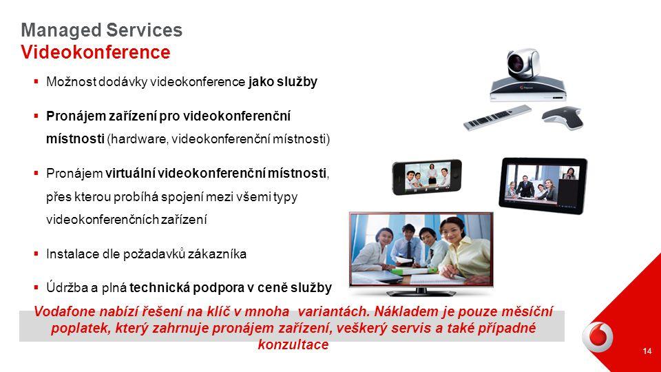 Vodafone nabízí řešení na klíč v mnoha variantách. Nákladem je pouze měsíční poplatek, který zahrnuje pronájem zařízení, veškerý servis a také případn