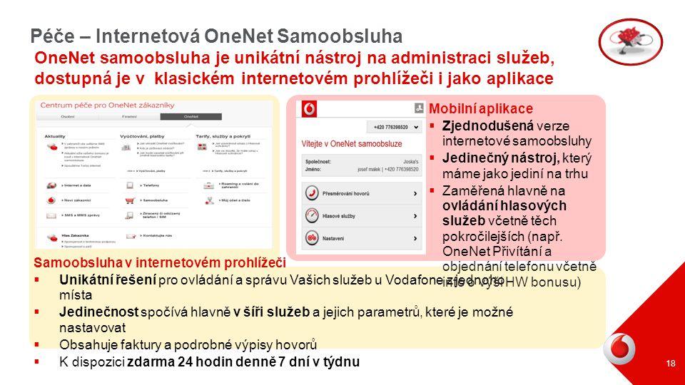 Péče – Internetová OneNet Samoobsluha OneNet samoobsluha je unikátní nástroj na administraci služeb, dostupná je v klasickém internetovém prohlížeči i