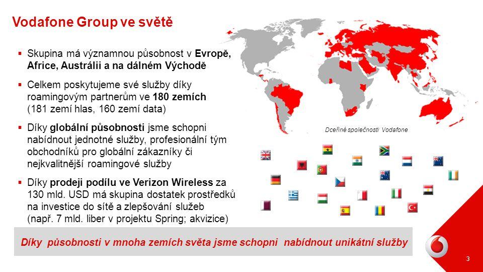 Vodafone Group ve světě 3 Díky působnosti v mnoha zemích světa jsme schopni nabídnout unikátní služby Dceřiné společnosti Vodafone  Skupina má význam