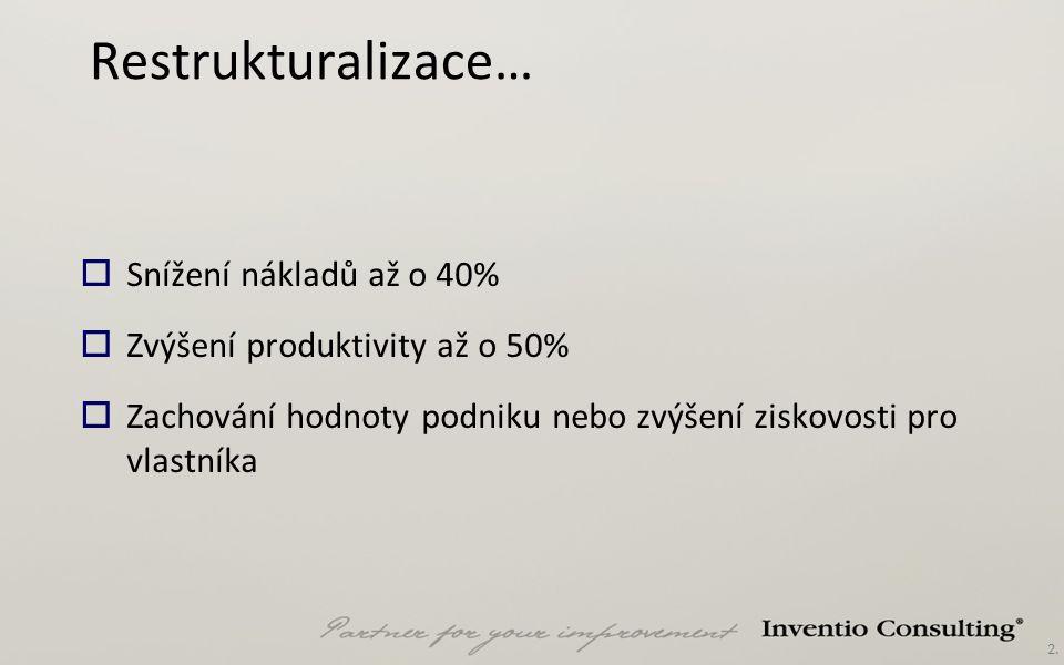 2. Restrukturalizace…  Snížení nákladů až o 40%  Zvýšení produktivity až o 50%  Zachování hodnoty podniku nebo zvýšení ziskovosti pro vlastníka