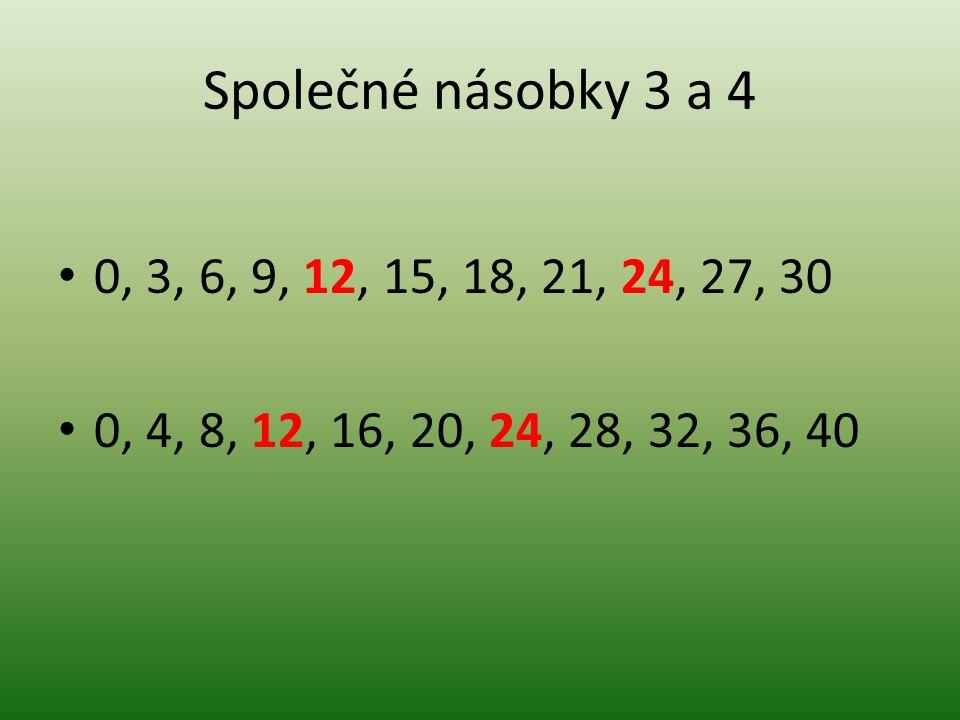 Společné násobky 3 a 4 0, 3, 6, 9, 12, 15, 18, 21, 24, 27, 30 0, 4, 8, 12, 16, 20, 24, 28, 32, 36, 40