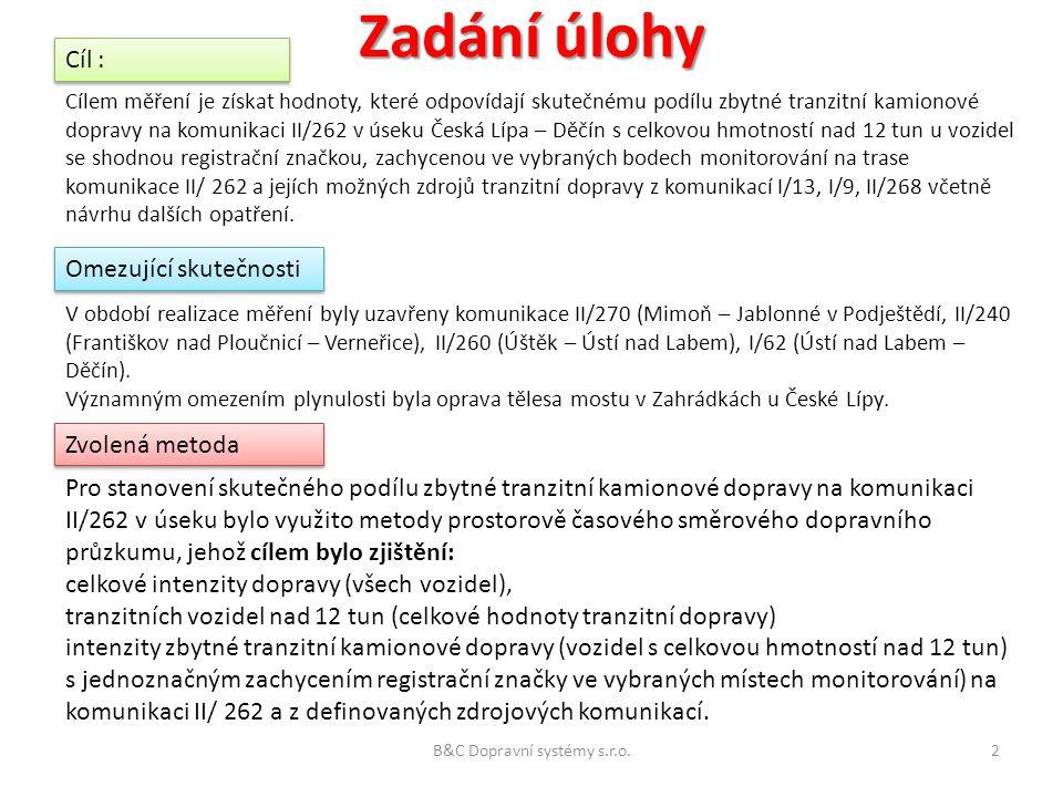 Zadání úlohy Cílem měření je získat hodnoty, které odpovídají skutečnému podílu zbytné tranzitní kamionové dopravy na komunikaci II/262 v úseku Česká Lípa – Děčín s celkovou hmotností nad 12 tun u vozidel se shodnou registrační značkou, zachycenou ve vybraných bodech monitorování na trase komunikace II/ 262 a jejích možných zdrojů tranzitní dopravy z komunikací I/13, I/9, II/268 včetně návrhu dalších opatření.