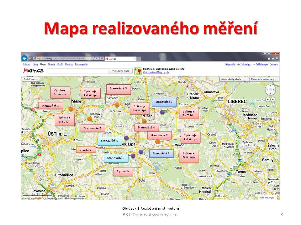 Mapa realizovaného měření Obrázek 2 Rozložení míst měření B&C Dopravní systémy s.r.o.3