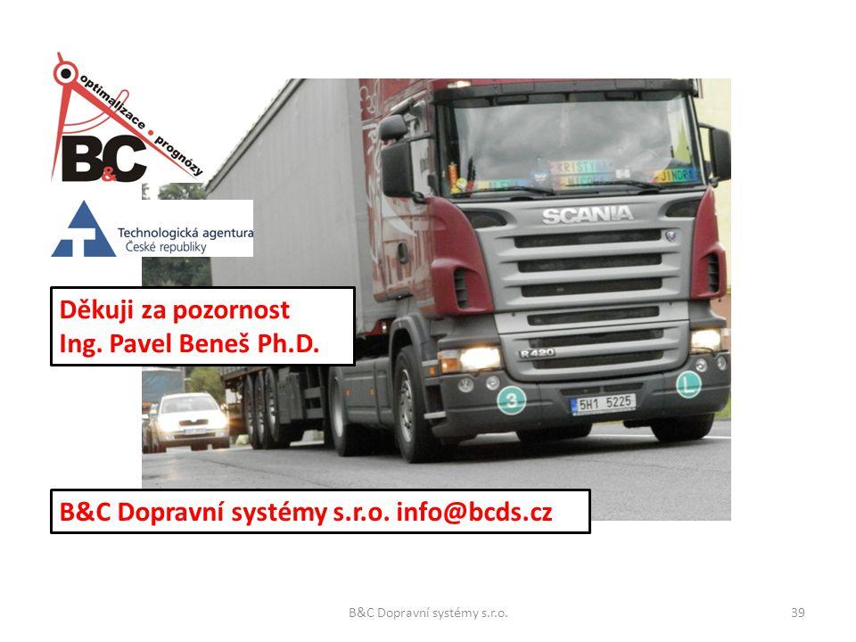 Děkuji za pozornost Ing. Pavel Beneš Ph.D. B&C Dopravní systémy s.r.o. info@bcds.cz B&C Dopravní systémy s.r.o.39