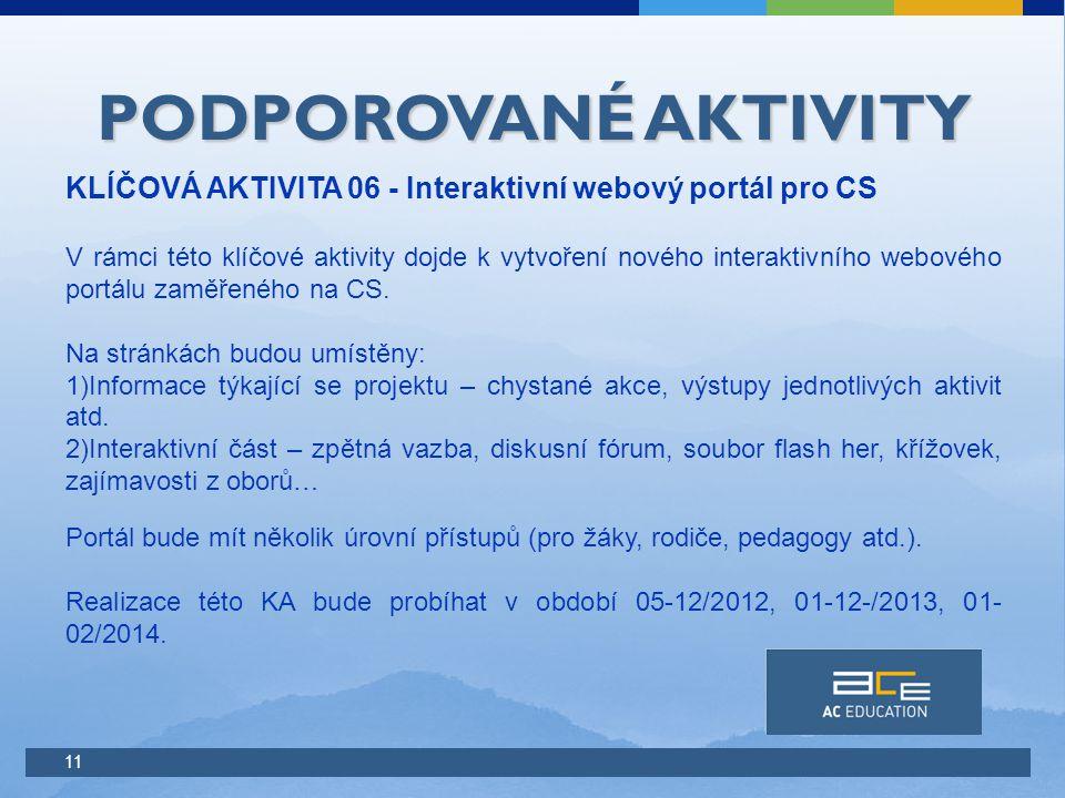 11 PODPOROVANÉ AKTIVITY KLÍČOVÁ AKTIVITA 06 - Interaktivní webový portál pro CS V rámci této klíčové aktivity dojde k vytvoření nového interaktivního webového portálu zaměřeného na CS.