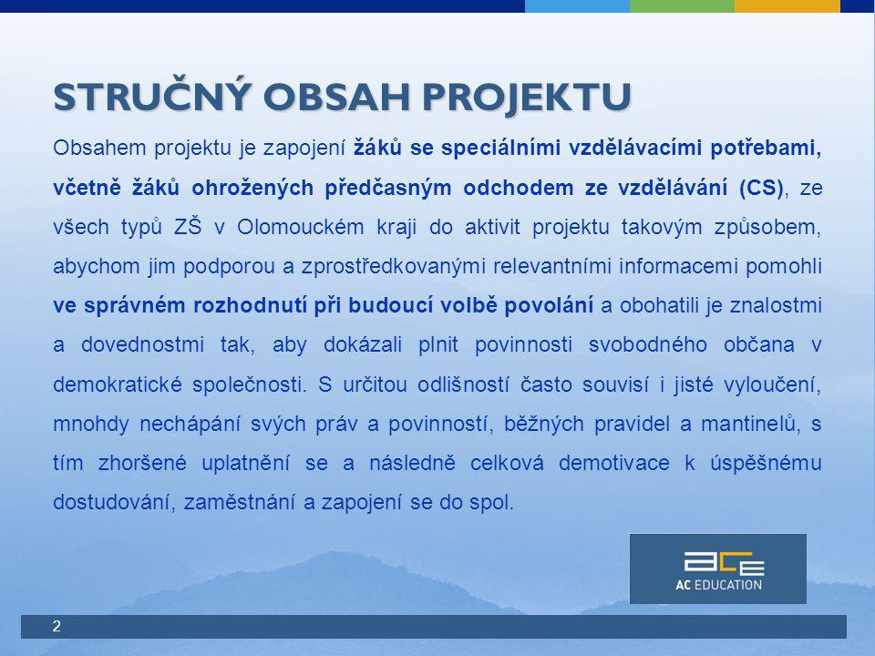 2 STRUČNÝ OBSAH PROJEKTU Obsahem projektu je zapojení žáků se speciálními vzdělávacími potřebami, včetně žáků ohrožených předčasným odchodem ze vzdělávání (CS), ze všech typů ZŠ v Olomouckém kraji do aktivit projektu takovým způsobem, abychom jim podporou a zprostředkovanými relevantními informacemi pomohli ve správném rozhodnutí při budoucí volbě povolání a obohatili je znalostmi a dovednostmi tak, aby dokázali plnit povinnosti svobodného občana v demokratické společnosti.