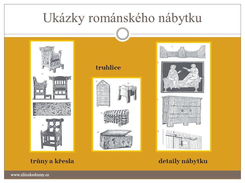 Ukázky románského nábytku www.zlinskedumy.cz trůny a křesla truhlice detaily nábytku