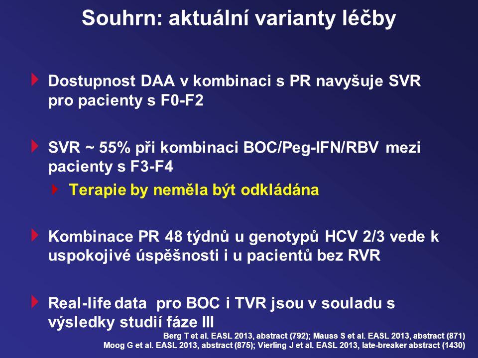 Souhrn: aktuální varianty léčby  Dostupnost DAA v kombinaci s PR navyšuje SVR pro pacienty s F0-F2  SVR ~ 55% při kombinaci BOC/Peg-IFN/RBV mezi pacienty s F3-F4  Terapie by neměla být odkládána  Kombinace PR 48 týdnů u genotypů HCV 2/3 vede k uspokojivé úspěšnosti i u pacientů bez RVR  Real-life data pro BOC i TVR jsou v souladu s výsledky studií fáze III Berg T et al.