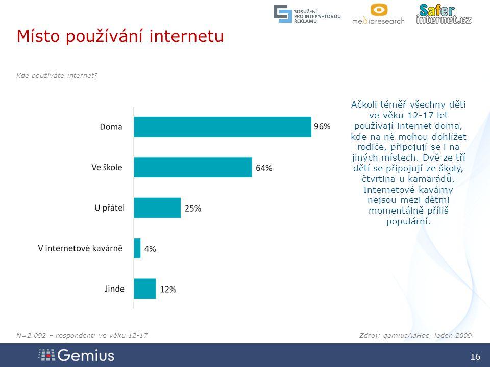 1616 1616 16 Zdroj: gemiusAdHoc, leden 2009 Místo používání internetu Kde používáte internet.