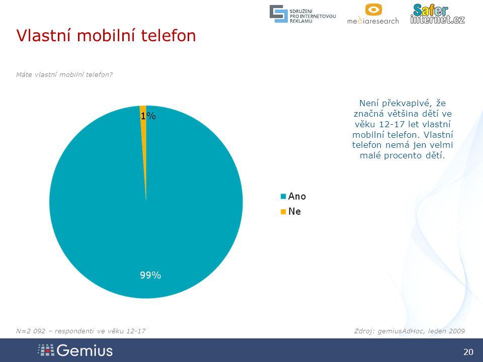 2020 2020 20 Zdroj: gemiusAdHoc, leden 2009 Máte vlastní mobilní telefon.